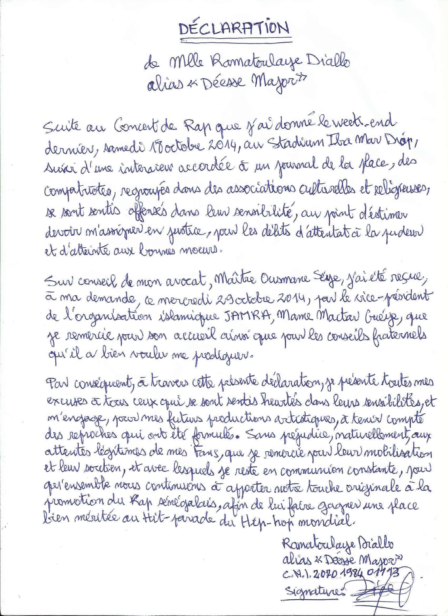 Image: La lettre d'excuse publique de Déesse Major à L'Ong Jamra