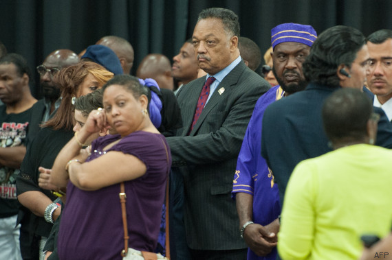 The Reverend Jesse Jackson attends an Islamic Janazah service for Muhammad Ali at Freedom Hall on June 9, 2016 in Louisville, Kentucky. A traditional Muslim funeral service for Muhammad Ali began Thursday in his hometown of Louisville, Kentucky opening two days of farewell ceremonies for the late boxing legend and civil rights hero. / AFP PHOTO / Michael B. Thomas