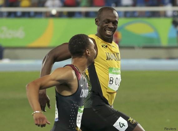 JO-2016/Athlétisme: les mots de Usain Bolt à Andre de Grasse en pleine course