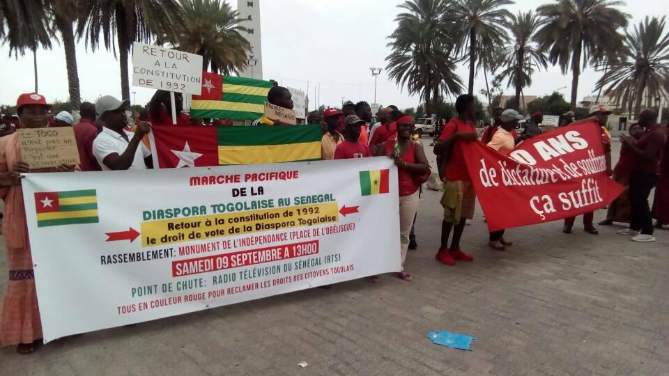 Dakar, Emissaire, l'opposition, Marche des Togolais