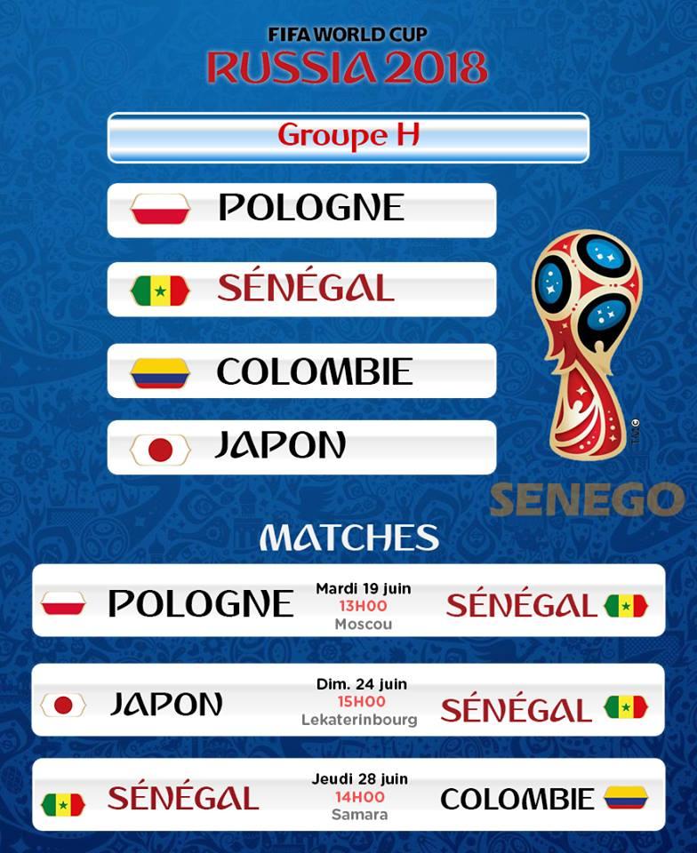 Calendrier H Cup.Groupe H Le Calendrier Des Lions Du Senegal