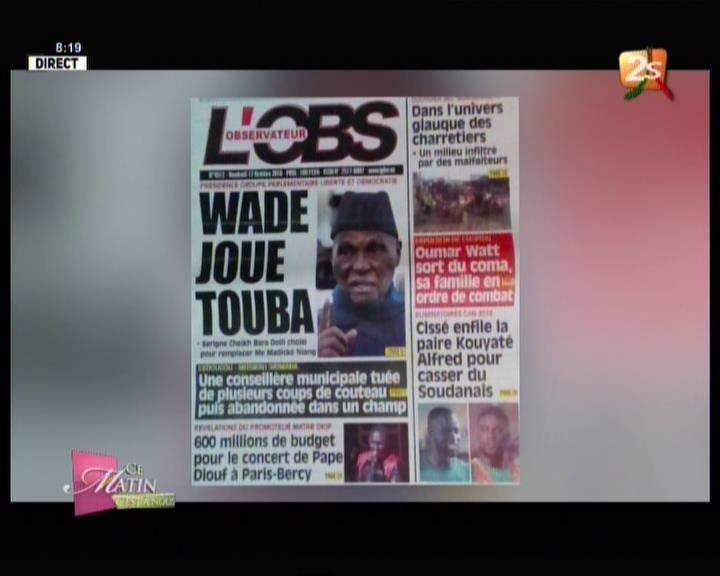 Revue de presse (Wolof) 2STV du vendredi 12 octobre 2018 par Seynabou Ndiaye