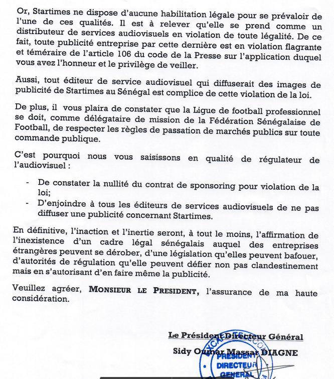 Contrat De Sponsoring De Startimes Et Ligue Sénégalaise De