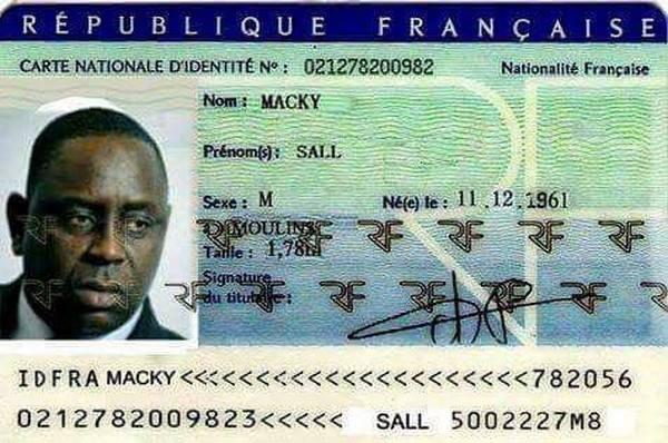 Carte d'identité, france, Macky Sall, WhatsApp