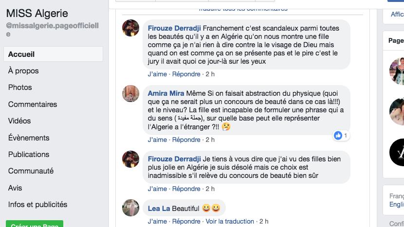 Miss Algérie critiquée sur la toile parce qu'elle a la peau mate