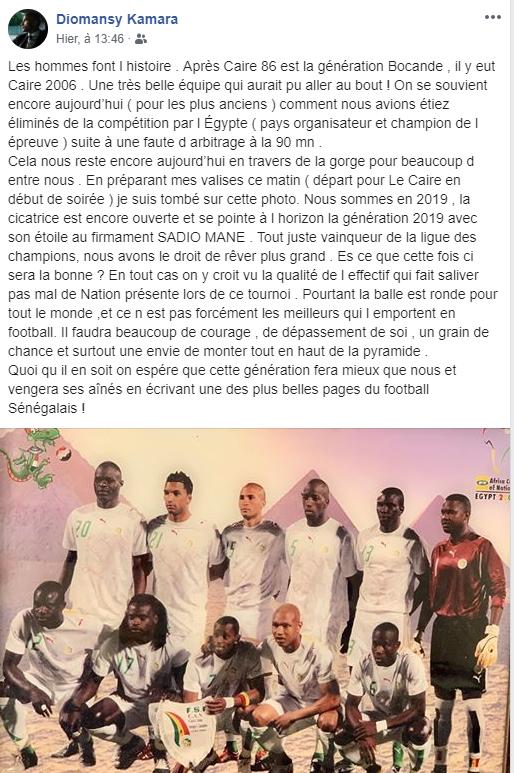 Can 2019 – Diomansy Kamara: «On espère que la génération de Sadio Mané fera mieux que nous et vengera ses aînés» - Une capture d'écran d'une application de média social pour une photo - La publicité