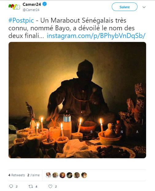 Un Marabout dévoile l'identité des deux finalistes de la CAN 2019 ! - Une capture d'écran d'un gâteau d'anniversaire avec des bougies allumées - Marabout