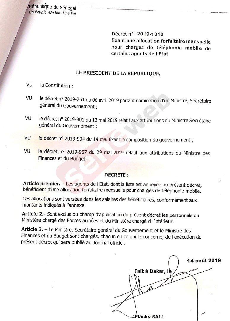 1 1 - Facture téléphonique de l'Etat : Macky signe le décret de répartition