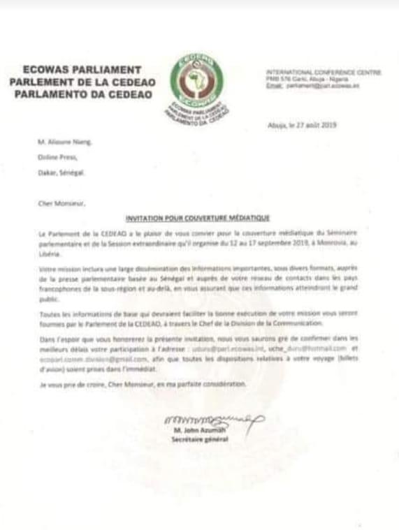 """cedeao 1 - Usurpation de fonction: La Cedeao choisit le """"journaliste"""" Niang Xaragne Lô"""