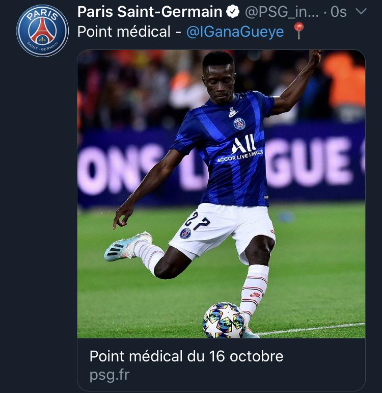 5e1cd1df b59f 4f63 9e57 d5898115c52a - PSG : Idrissa Guèye blessé et absent plusieurs jours !
