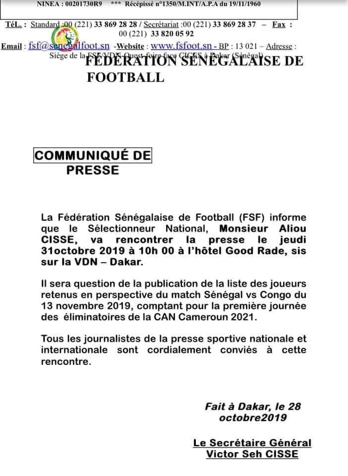 fsf 1 - CAN 2021 : Sénégal/Congo se joue finalement le 13 novembre à Thiès