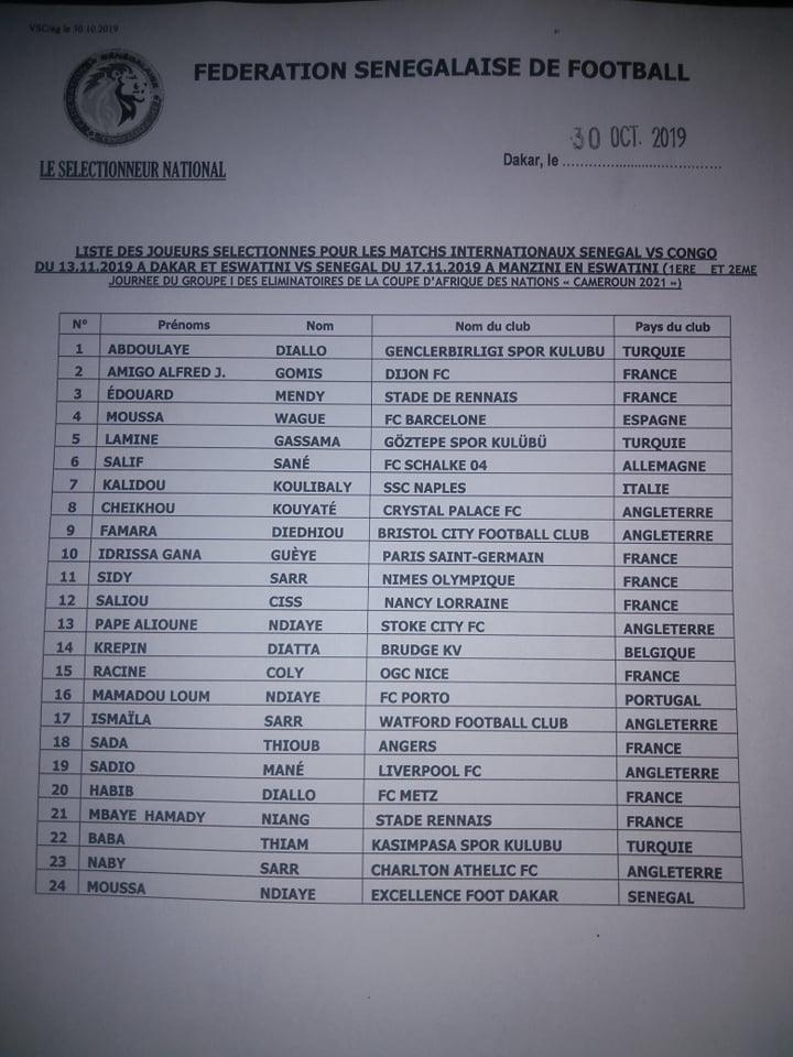 liste2 - CAN 2021 : Aliou Cissé publie sa liste contre le Congo et l'Eswatini