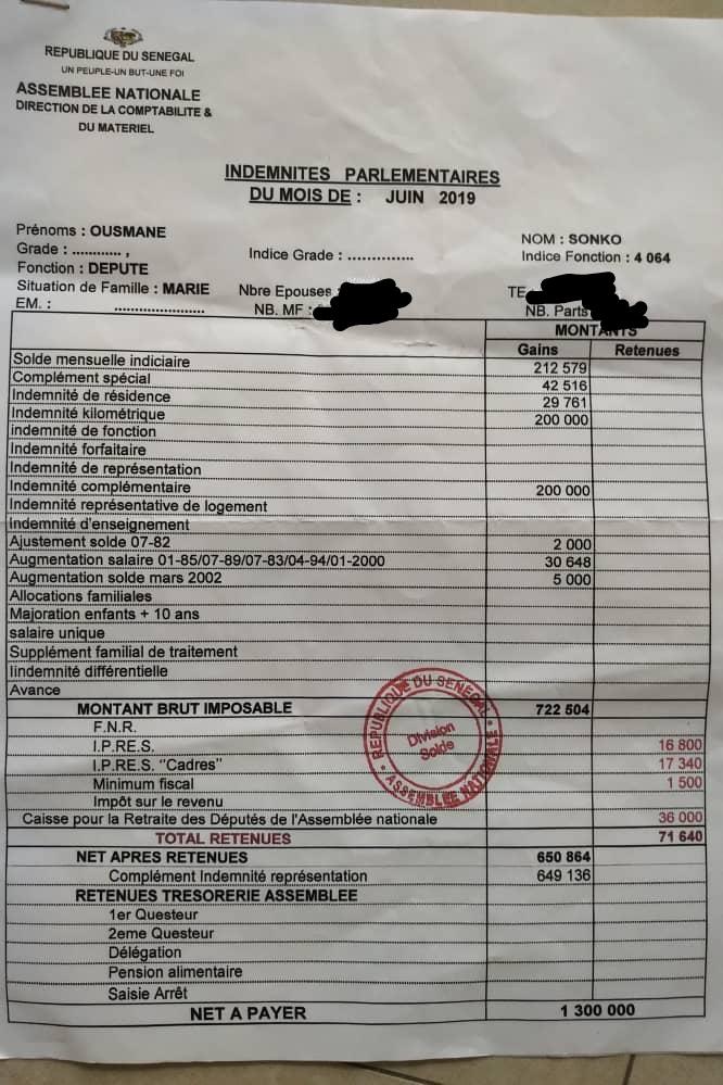 bulletin de paie du pdt sonko - Injustice fiscale au sommet! (Par Ousmane Sonko)*