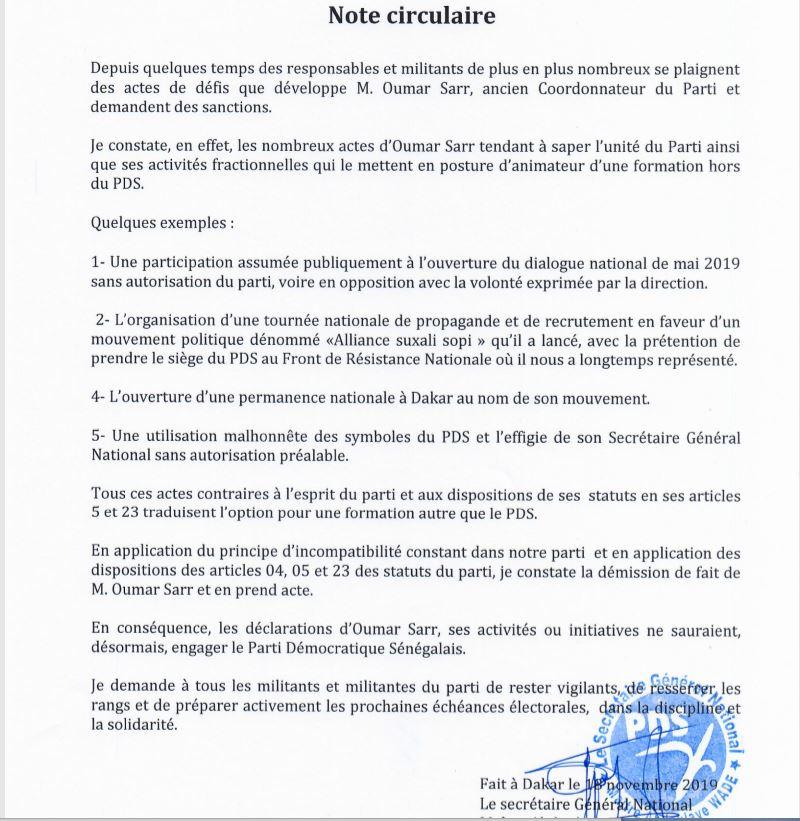 """circulaire pds - Me Wade """"constate la démission de fait de Oumar Sarr et prend acte"""""""