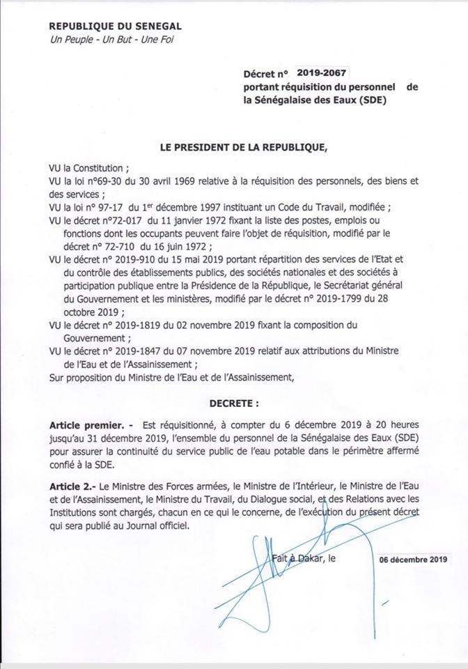 decret - Urgent - Sde : Macky donne un ultimatum au personnel jusqu'au 31...