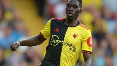 WATFORD, ENGLAND - SEPTEMBER 15: Ismaïla Sarr of Watford during the Premier League match between Watford FC and Arsenal FC at Vicarage Road on September 14, 2019 in Watford, United Kingdom. (Photo by Marc Atkins/Getty Images)