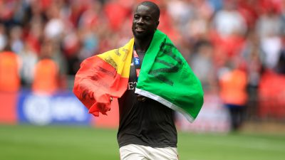 Charlton Athletic's Mouhamadou-Naby Sarr celebrates after the final whistle during the Sky Bet League One Play-off final at Wembley Stadium, London.