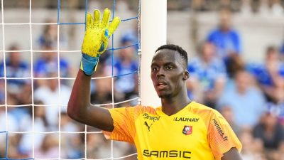 Edouard Mendy of Rennes during the Ligue 1 match between Strasbourg and Rennes on August 25, 2019 in Strasbourg, France. (Photo by Sebastien Bozon/Icon Sport via Getty Images)