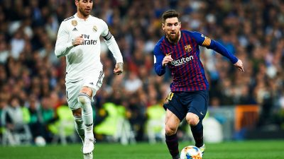 Lionel Messi of FC Barcelona and Sergio Ramos of Real Madrid during the match between Real Madrid v FC Barcelona of Copa del Rey, semifinals, 2nd leg, 2018-2019 season. Santiago Bernabeu Stadium. Barcelona, Spain - 27 FEB 2019 Photo : SipaUsa / Icon Sport