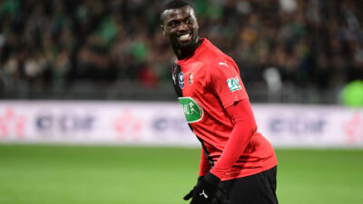 Joy for MBaye NIANG of Rennes as he puts his side 1-0 ahead with a penalty during the French Cup semi-final between Saint Etienne and Rennes on March 5, 2020 in Saint-Etienne, France. (Photo by Dave Winter/Icon Sport) - Mbaye NIANG - Stade Geoffroy-Guichard - Saint Etienne (France)