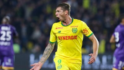 Emiliano Sala of Nantes celebrates after scoring a goal during the Ligue 1 match between FC Nantes and Toulouse FC at Stade de la Beaujoire on October 20, 2018 in Nantes, France. (Photo by Eddy Lemaistre/Icon Sport)